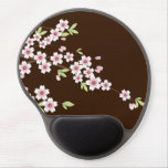 Pink/Chocolate Brown Cherry Blossom Gel Mouse Pad