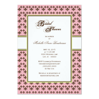 Pink Chocolate Brown Fleur de Lis Bridal Shower 2 Card