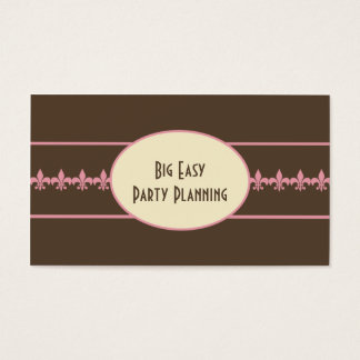 Pink Chocolate Brown Fleur de Lis Business Card