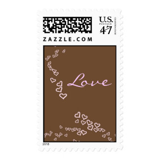 Pink & Chocolate Brown Hearts Postage Stamp