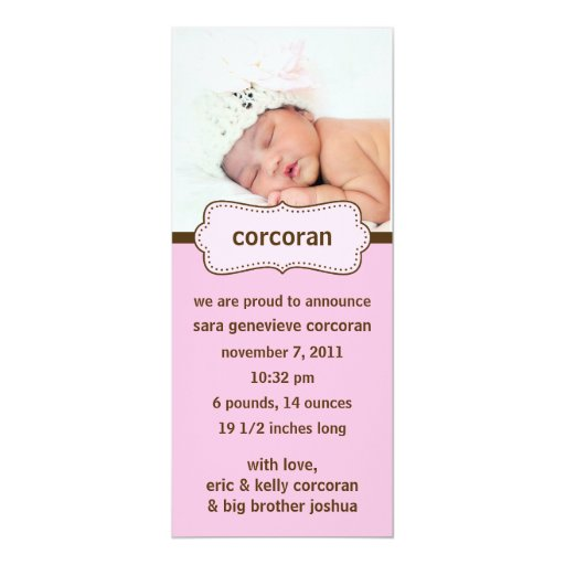 Pink & Chocolate Brown Photo Birth Announcements