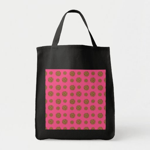 Pink chocolate chip cookies pattern canvas bags
