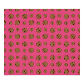 Pink chocolate chip cookies pattern poster