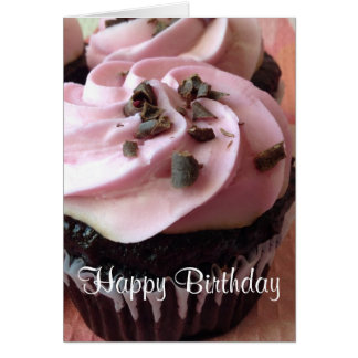 Pink Chocolate Cupcake Greeting Card