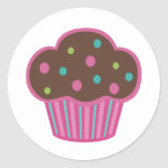 Pink Chocolate Cupcake Stickers