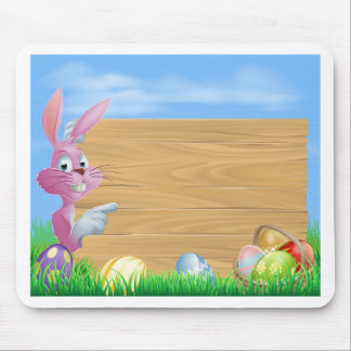 Pink chocolate eggs sign Easter bunny Mousepad