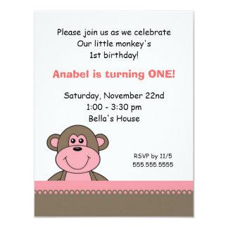 Pink & Chocolate Monkey Birthday Party Invitation