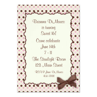 Pink Chocolate Polka Dot Invitation