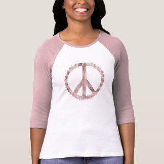 Pink / Chocolate Polka Dot Peace Symbol T-Shirt