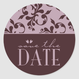 Pink & Chocolate Save the Date Sticker