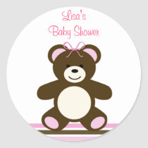 Pink Chocolate Teddy Bear Envelope Seals Stickers