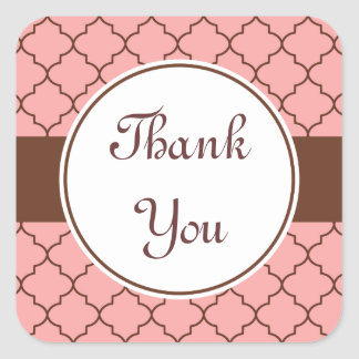 Pink Chocolate Thank You Stickers