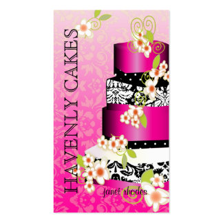 Pink + Chocolate Wedding Cake Bakery pâtisserie Business Card Template