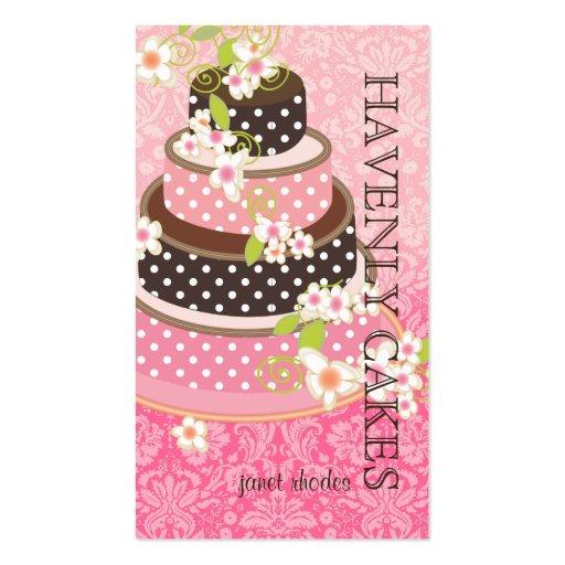 Pink + Chocolate Wedding Cake/Bakery/pâtisserie Business Card