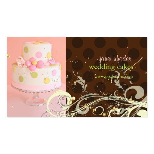 Wedding cake business business card templates page4 bizcardstudio pinkchocolate wedding cake business cards reheart Image collections