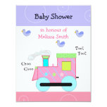 Pink Choo Choo Train Baby Shower Announcement