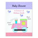 Pink Choo Choo Train Baby Shower 4.25x5.5 Paper Invitation Card