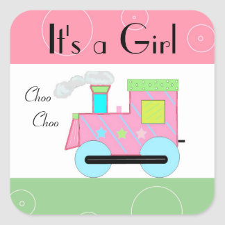 Pink Choo Choo Train Baby Shower Square Sticker