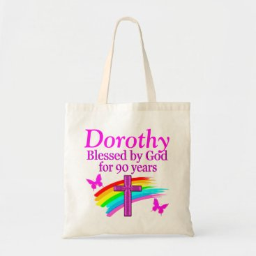 birthday PINK CHRISTIAN 90TH BIRTHDAY PERSONALIZED TOTE BAG