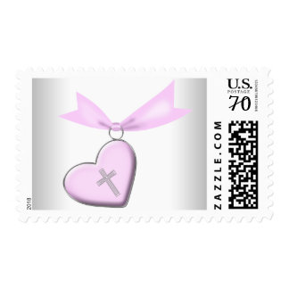 Pink Christian Cross Postage Stamps