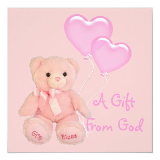 Pink Christian Religious Baby Shower Invitation