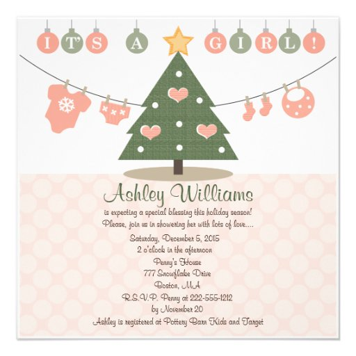 pink christmas baby shower invitations zazzle