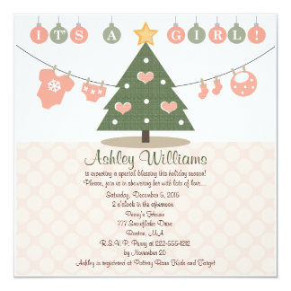Pink Christmas Baby Shower Invitations