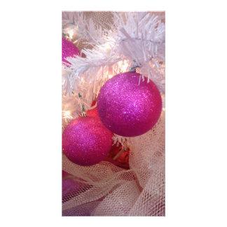 Pink christmas balls card
