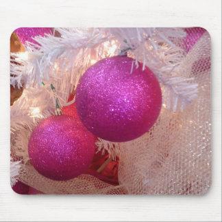 Pink christmas balls mouse pad