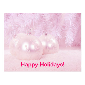 Pink Christmas Balls on Snow with Pink Background Postcard