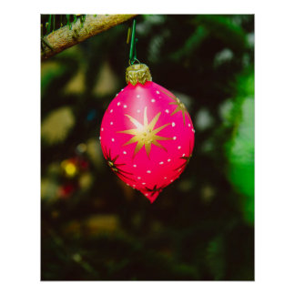 Pink Christmas bauble Poster