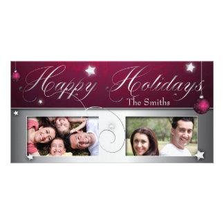 Pink Christmas Bulb Happy Holidays Photo Card