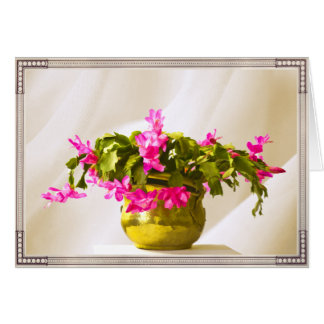 Pink Christmas Cactus Portrait Card