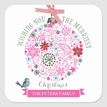 Christmas Themed Pink Christmas Decoration | Square Stickers
