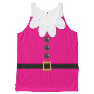 Pink Christmas Elf Novelty Tank Top All-Over Print Tank Top