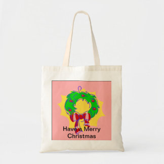 Pink - Christmas Holly Wreath Budget Tote Bag