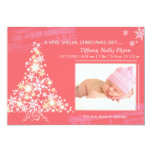 """Pink Christmas New Baby Girl Photo Announcements 5"""" X 7"""" Invitation Card"""