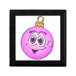 Pink Christmas Ornament Cartoon.png Trinket Boxes