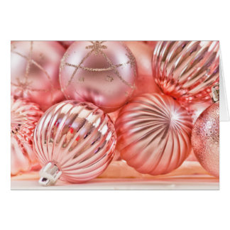 Pink Christmas Ornaments Xmas Holiday Blank Inside Card