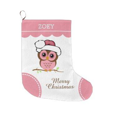 Christmas Themed Pink Christmas Owl Large Christmas Stocking