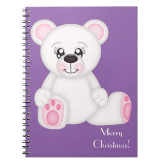 Pink Christmas Polar Bear Notebook
