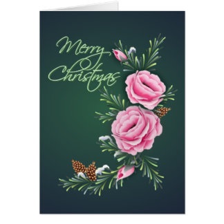 PINK CHRISTMAS ROSES & PINE by SHARON SHARPE Greeting Card