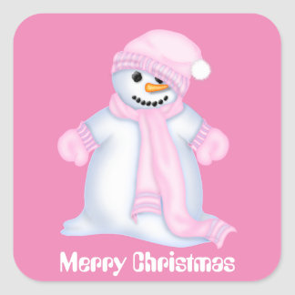 Pink Christmas snow woman Holiday sticker