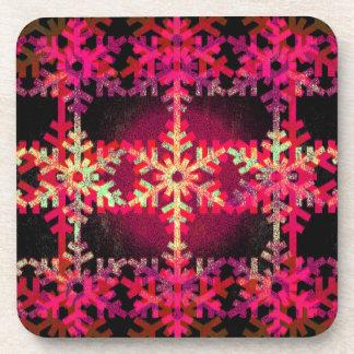 Pink christmas snowflake pattern drink coaster