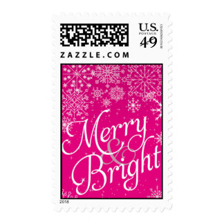 Pink Christmas Snowflake Postage Stamps