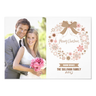 Pink Christmas Snowflakes Wreath   Holiday Card