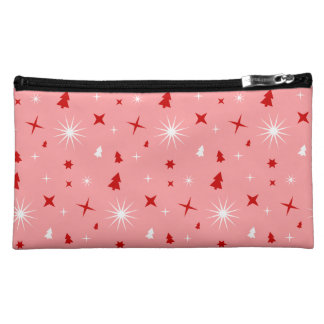 Pink Christmas Theme White Red Trees Stars Lg Cosmetic Bags