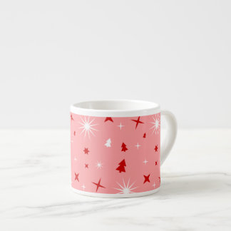 Pink Christmas Theme White Red Trees Stars Lg Espresso Cup