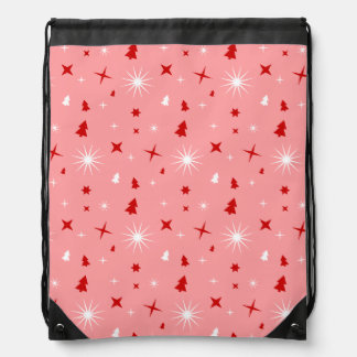 Pink Christmas Theme White Red Trees Stars Lg Backpack