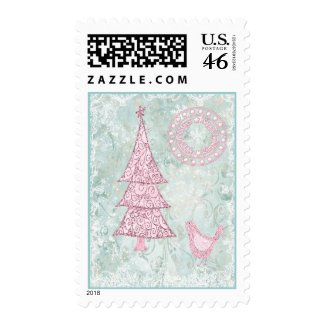 Pink Christmas Tree Postage stamp